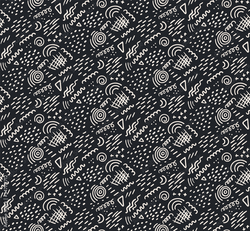 Hand drawn seamless vector pattern with geometric elements, white on black background. Abstract texture. Flat style design. Concept for children textile print, wallpaper, wrapping paper, packaging.