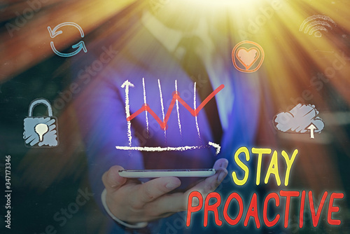 Text sign showing Stay Proactive Canvas Print