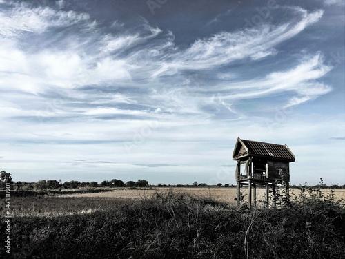 Fotografie, Obraz Stilt Hut On Field Against Sky
