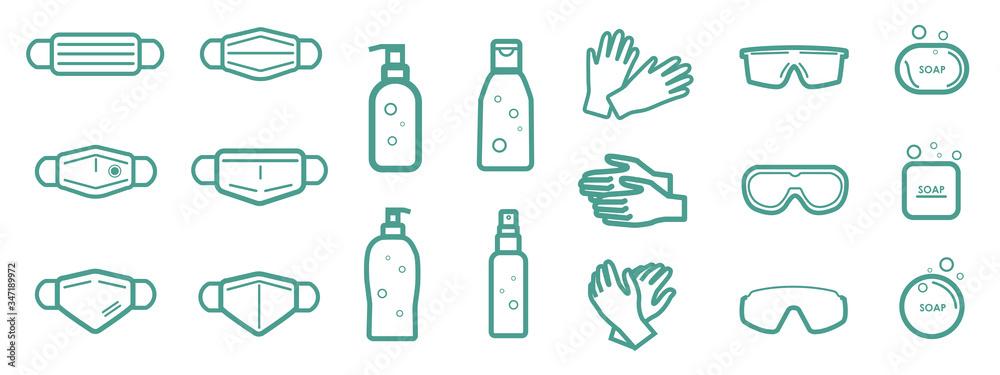 Fototapeta Set of protection equipment icons from Coronavirus, COVID-19. - medical face mask, alcohol gel, latex gloves, protective glasses, soap. Outline symbols. Vector illustration