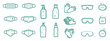 Set of protection equipment icons from Coronavirus, COVID-19. - medical face mask, alcohol gel, latex gloves, protective glasses, soap. Outline symbols. Vector illustration