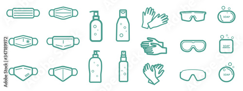 Obraz Set of protection equipment icons from Coronavirus, COVID-19. - medical face mask, alcohol gel, latex gloves, protective glasses, soap. Outline symbols. Vector illustration - fototapety do salonu
