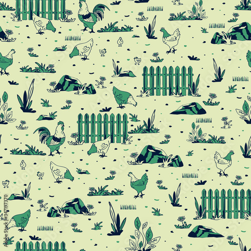 Photo Seamless vector pattern with chickens farm on light grey background