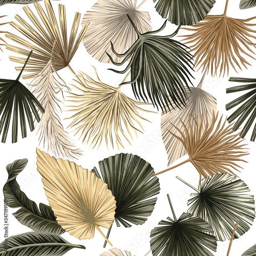Tapety Boho   tropikalny-kwiatowy-suszone-palmy-pozostawia-bezszwowe-biale-tlo-wzor-tapeta-egzotyczna-dzungla