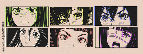 Six pairs of Asian Eyes look. Neon effect. Manga style. Japanese cartoon Comic concept. Anime characters. Hand drawn trendy Vector illustration. Pre-made prints. Every illustration is isolated - 347199789