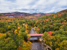 New Hampshire - Kancamagus Highway  In Autumn - Albany Covered Bridge In The White Mountains