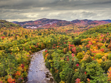 New Hampshire - Kancamagus Highway In Autumn - Swift River Near The Albany Covered Bridge In The White Mountains
