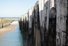 Wooden Groynes At The Beach In...
