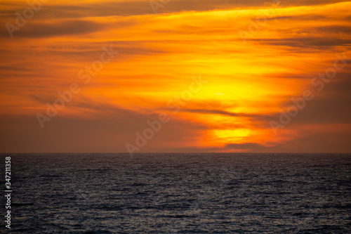 Pacific Ocean sunset from Yachats, Oregon in August, horizontal