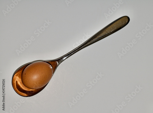 Vászonkép Large silver tablespoon holding a brown egg on white background