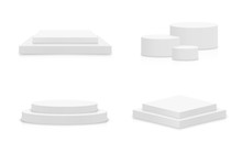 White 3d Podium Mockup In Different Shapes. Set Of Empty Stage Or Pedestal Mockups Isolated On White Background. Podium Or Platform For Award Ceremony And Product Presentation