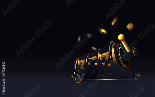 Fotografía Vector illustration on a casino theme with poker symbols and poker cards on dark background