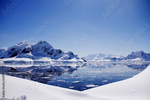 Fototapety, obrazy: Scenic View Of Lake And Snow Covered Mountains Against Clear Blue Sky