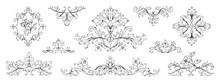 Floral Baroque Ornaments. Vintage Victorian Frame Decorative Elements, Swirl Heraldic Engraved With Leaves And Flowers. Vector Retro Ornamentals Illustration Set For Designs