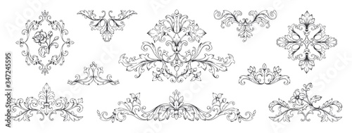 Fototapeta Floral baroque ornaments. Vintage Victorian frame decorative elements, swirl heraldic engraved with leaves and flowers. Vector retro ornamentals illustration set for designs obraz