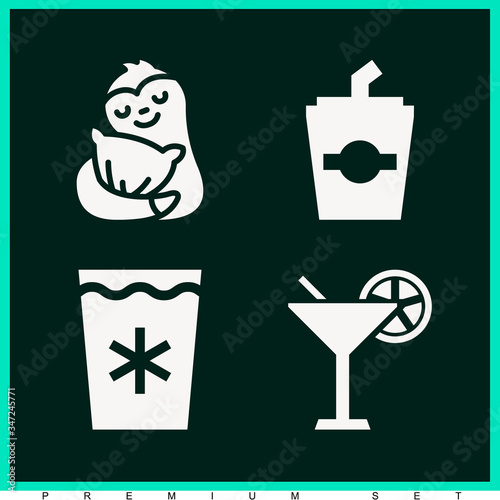 Set of 4 absorb filled icons Wallpaper Mural