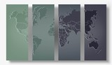 A dark set of illustrations map of the world. World map made of glass on a dark background. Countries and continents. Stock vector.