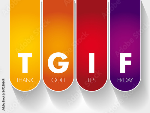 TGIF - Thank God It's Friday acronym, concept background Canvas Print