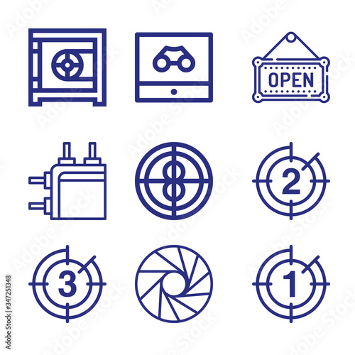 Vászonkép Set of 9 quickly lineal icons