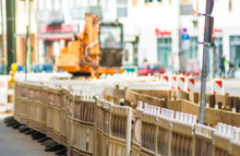 Wooden Barricades At Construction Site