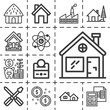 13 lineal chimney icons set