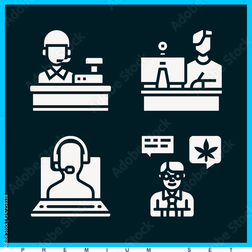 Set of 4 aide filled icons Wallpaper Mural