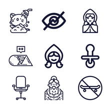 Set Of 9 Trivial Lineal Icons