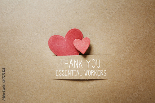 Fotomural Thank You Essential Workers message with handmade small paper hearts