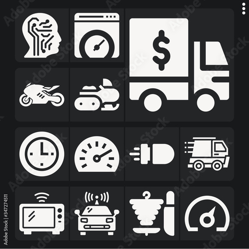 Set of 13 accelerate filled icons Wallpaper Mural