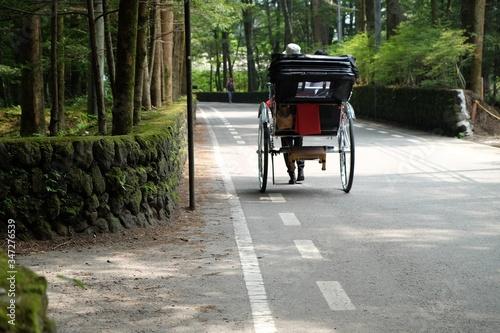 Fényképezés Hand Pulled Rickshaw On Street
