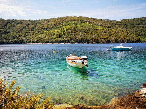 Obraz na plátně Boat Moored In Lake Against Sky