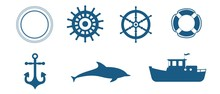 Set Of Various Maritime Elemen...