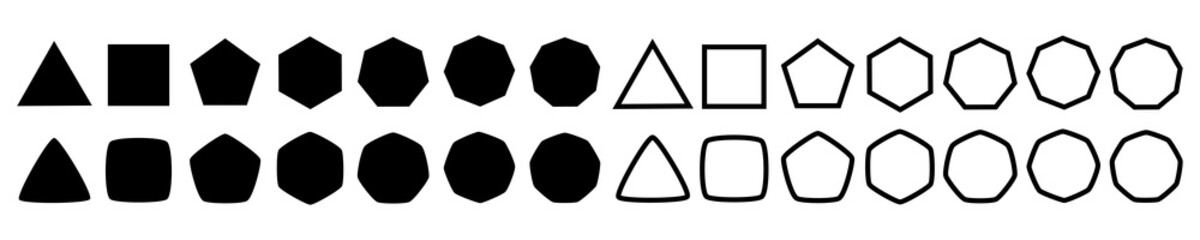 Set of geometric shapes, polygons with various number of sides: triangle, quadrangle, pentagon, hexagon, heptagon, octagon, nonagon icons collection, sharp and slightly rounded version - vector