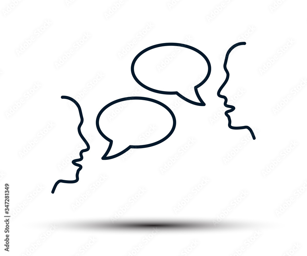 Fototapeta Two people are talking, people's conversation, chatting, discussion, negotiations, dialogue, interlocutors, communication - stock vector