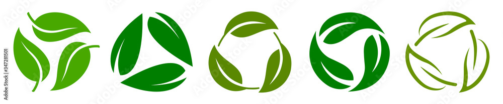 Fototapeta Set of biodegradable recyclable plastic free package icon, recycle leaves label logo template. Set of green leaf recycle, means using recycled resources, recycling signs, recycle collection icon
