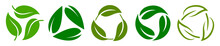 Set Of Biodegradable Recyclable Plastic Free Package Icon, Recycle Leaves Label Logo Template. Set Of Green Leaf Recycle, Means Using Recycled Resources, Recycling Signs, Recycle Collection Icon