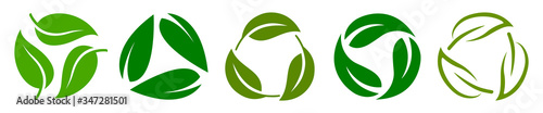 Photo Set of biodegradable recyclable plastic free package icon, recycle leaves label logo template
