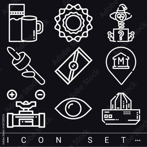 9 pack of bitter lineal web icons set Canvas Print