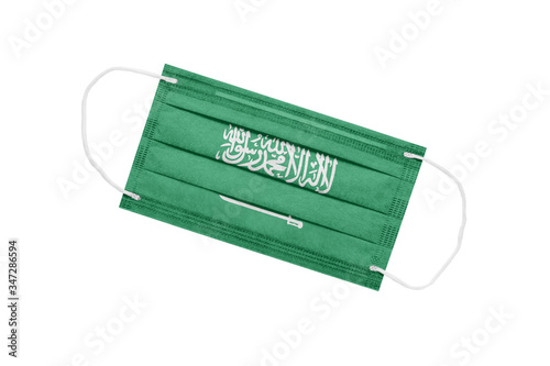Medical mask with flag of saudi arabia isolated on white background Wallpaper Mural