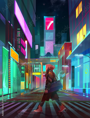 painted urban neon landscape of the future with man at night Fototapete