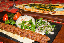 Spinach And Egg Pide, Pita Flat Bread And Puff Hot Lavash Or Lavas Homebaked Specialty