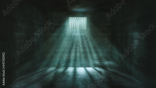 Fotografía 3D rendering of a dark cell at night