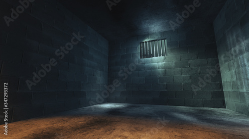 Fotomural 3D rendering of a dark cell at night