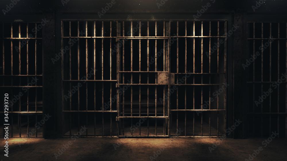 Fototapeta 3D rendering of a dark cell at night
