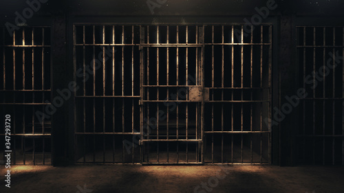 3D rendering of a dark cell at night Wallpaper Mural