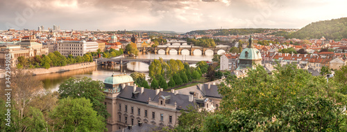 Sunset over Prague, Summer City Skyline with Houses and River Canvas Print