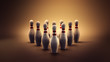 3D illustration of bowling pins in a high contrast image