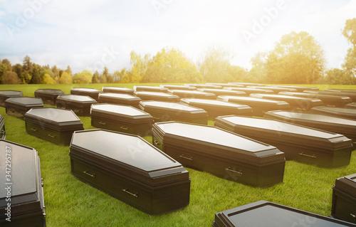 Fotografia grid of coffins representing mortality /3D Render