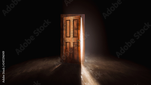 3D rendering of an open door with a bright light behind it Canvas Print