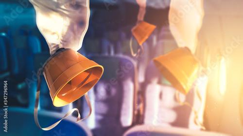 oxygen masks inside an airplane Wallpaper Mural